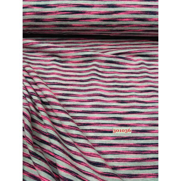 elasztikus pamut jersey /szivárvány csíkos /rózsaszín
