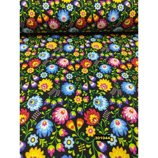 elasztikus pamut jersey/ virágos (sárga virág 3,3cm*3,3cm) DIGITAL PRINT