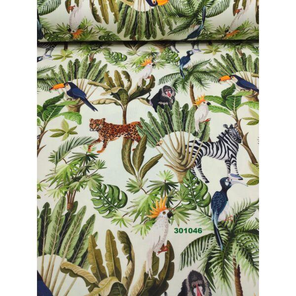 elasztikus pamut jersey/ dzsungel mintás (zebra 11,5cm*11cm) DIGITAL PRINT