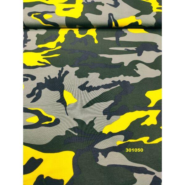 elasztikus mintás pamut jersey /terepmintás /sárga