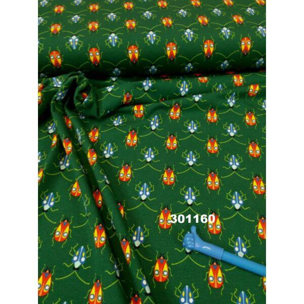elasztikus, mintás pamut jersey /szines állatok /sötétzöld