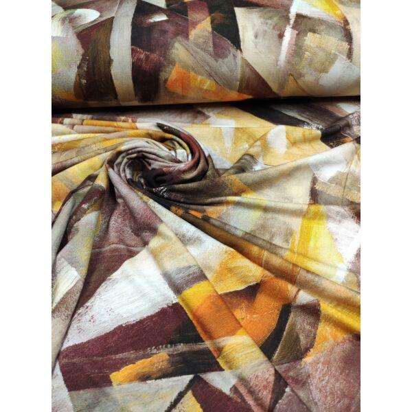 mintás viszkóz jersey /absztrakt mintás /barna-mustársárga