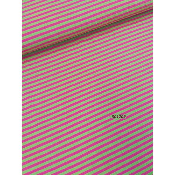 elasztikus mintás pamut jersey /csíkos 4mm /kiwi-pink