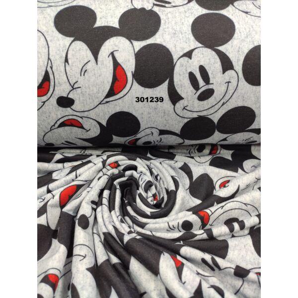 elasztikus futter /Mickey fejek /sötétkék melange