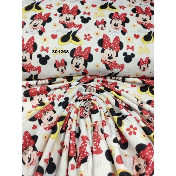 elasztikus mintás futter DIGITAL print /pöttyös ruhás Minnie egér (álló Minnie 8cm × 12cm) /fehér