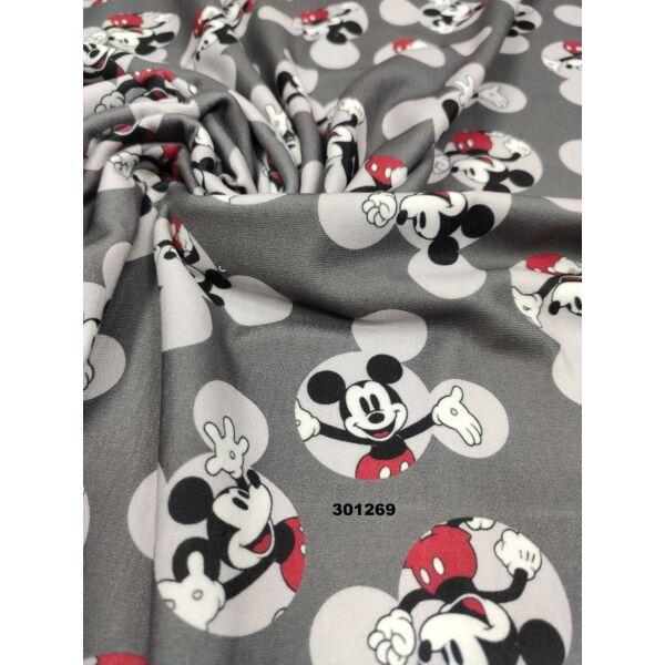elasztikus mintás futter DIGITAL PRINT /Mickey a Mickeyben(minta 5,5cmx6cm) /szürke