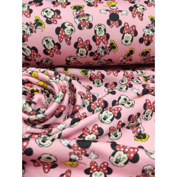 elasztikus mintás futter DIGITAL print /Játékos Minnie egér (háttal álló Minnie 9cmx8cm) /rózsaszín