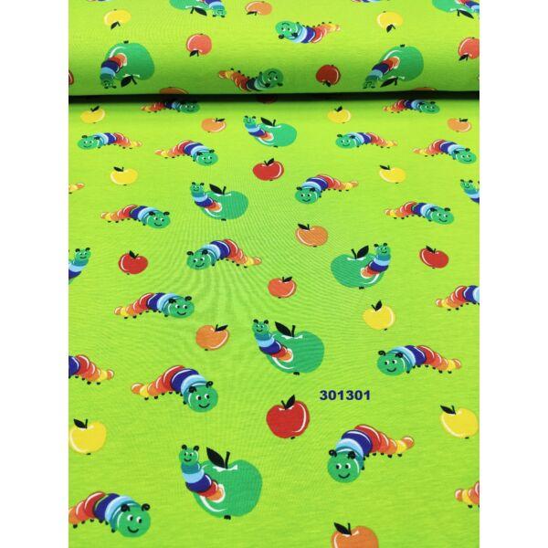 elasztikus pamut jersey /kukacos alma (alma2*1,8cm) /kiwi