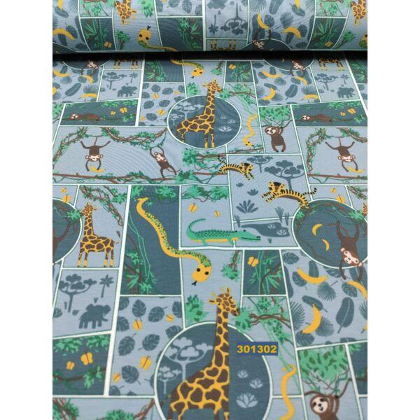 elasztikus mintás pamut jersey /safari (krokodil5,5 cm*2cm) /világoskék