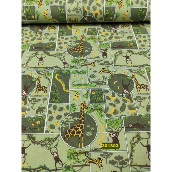 elasztikus pamut jersey /safari (krokodil5,5cm*2cm) /világos zöld