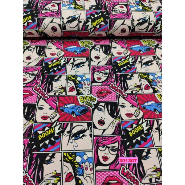 elasztikus mintás pamut jersey /képregény mintás (száj 5 cm*3,5 cm) /pink