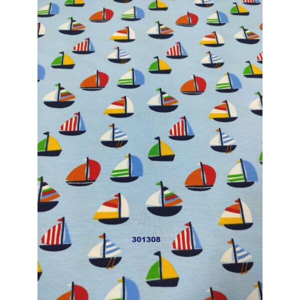 elasztikus mintás pamut jersey /színes vitorlások (2,8 cm*2,8 cm) /világoskék