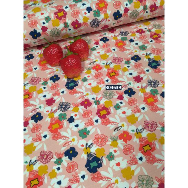 elasztikus, mintás modal futter /szines virágok /rózsaszín