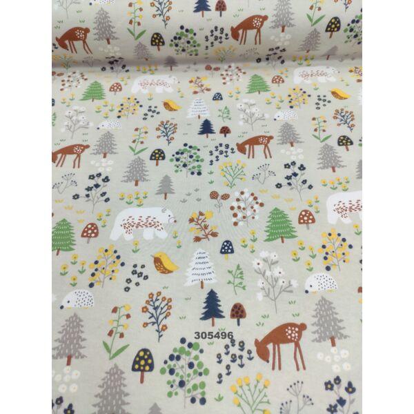 mintás 100% pamut jersey /erdei állatok (medve 6cm × 4cm) /bézs