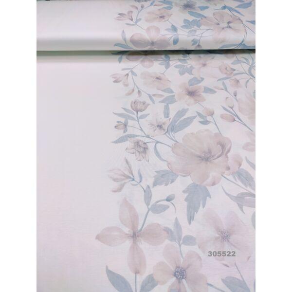 pamut jersey /bordűrös, virágos (a fehér bordűr 34cm széles) /drapp