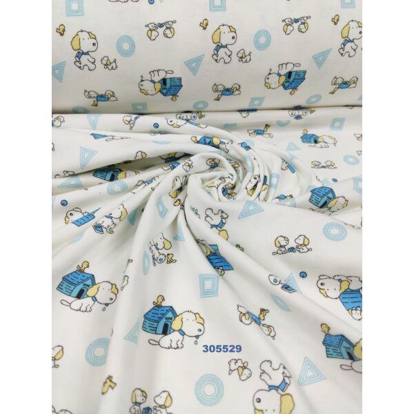 mintás 100% pamut jersey/ kutya házzal (négyzet1,5 cm*1,5 cm) /kék