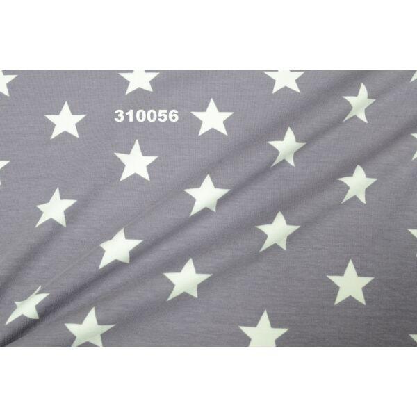 elasztikus pamut jersey /csillagok /szürke