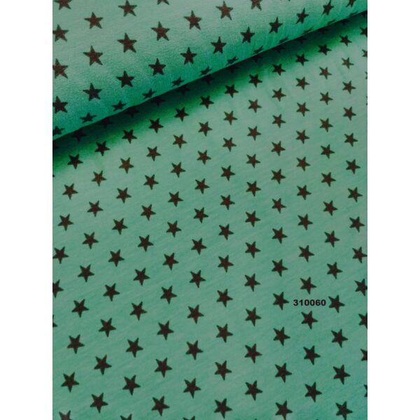 elasztikus pamut jersey /csillagok /türkiz kék-szürke