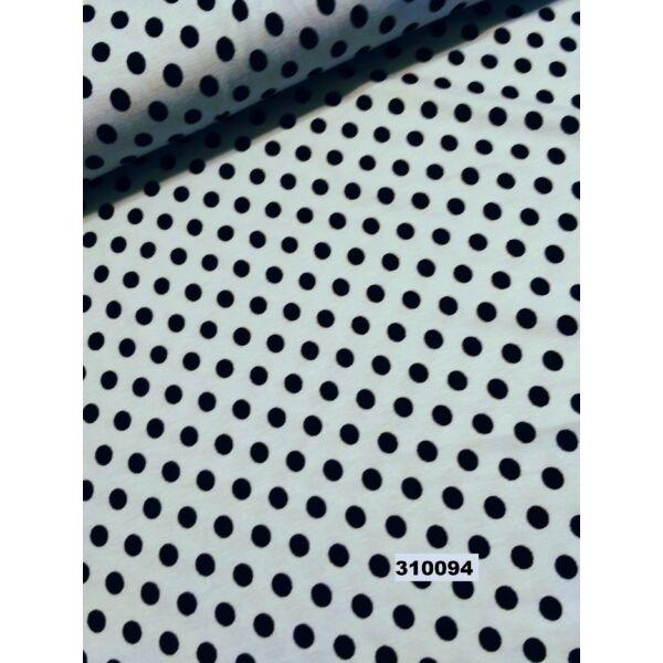 mintás viszkóz jersey /pöttyös 8mm /világoskék-fekete