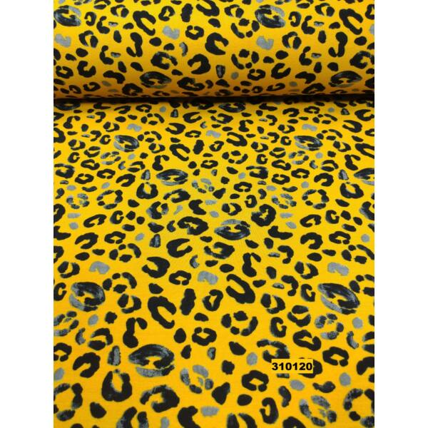 elasztikus, bolyhos futter /leopárd /mustár sárga