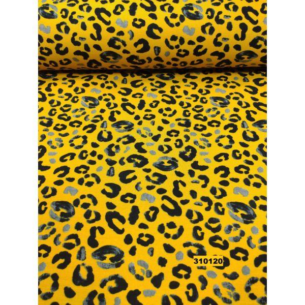 elasztikus mintás bolyhos futter /leopárd /mustársárga