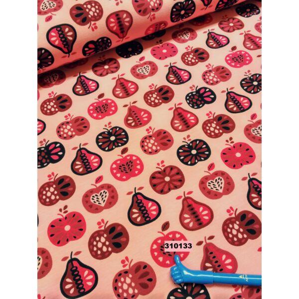 elasztikus pamut jersey /gyümölcsök / pink