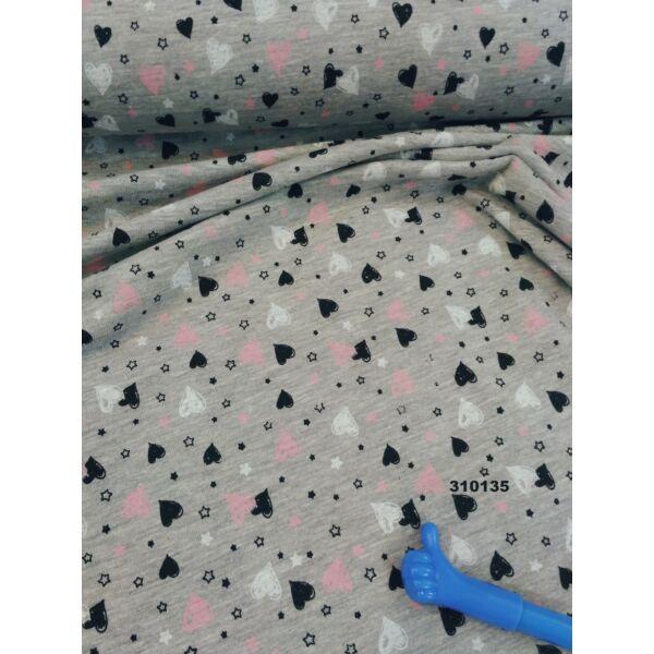 elasztikus pamut jersey /szivecskék /melange szürke