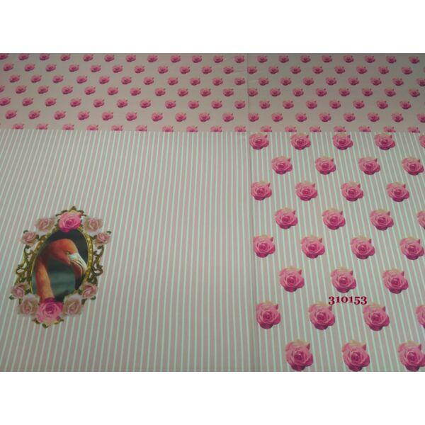 elasztikus mintás pamut jersey /BLOKKOS /flamingó /rózsaszín