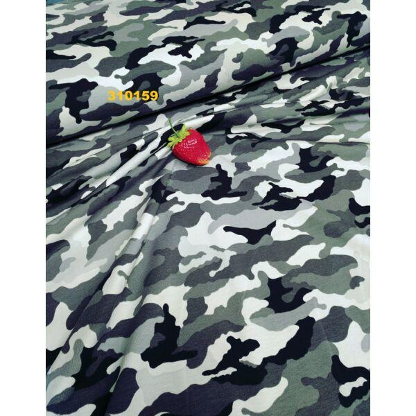 szürke terep mintás elasztikus pamut jersey
