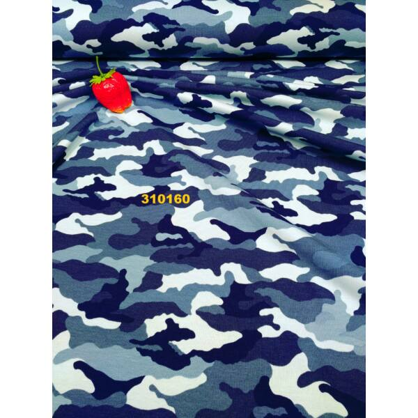 elasztikus pamut jersey /terep /kék