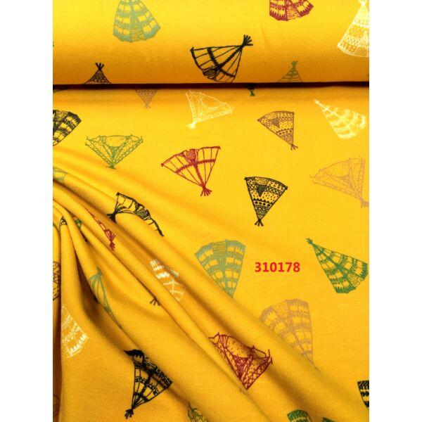elasztikus pamut jersey /szines sátrak /mustár