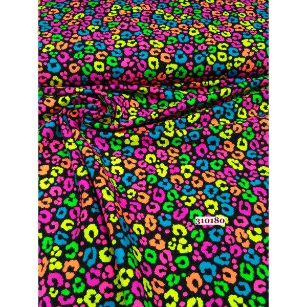Elasztikus pamut jersey / leopárd minta NEON szinekkel