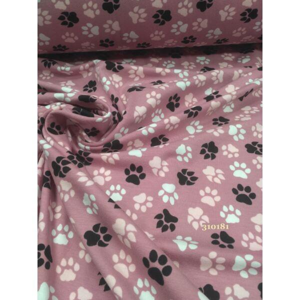 Elasztikus pamut jersey / kutyatappancs (2cm*2cm)/rózsaszín