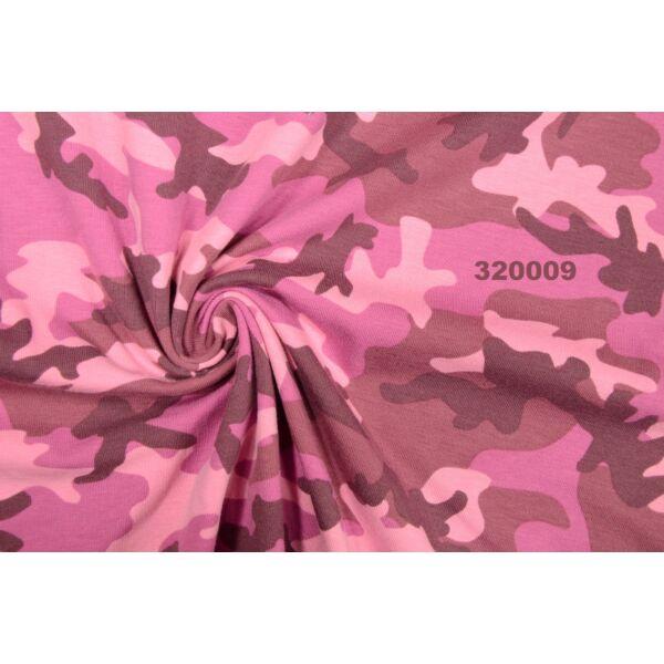 elasztikus mintás pamut jersey /terep /pink
