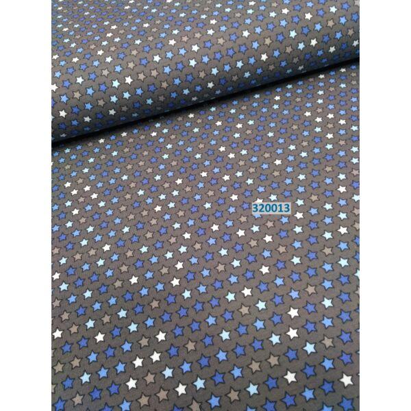 elasztikus pamut jersey /csillagos /sötét szürke-kék