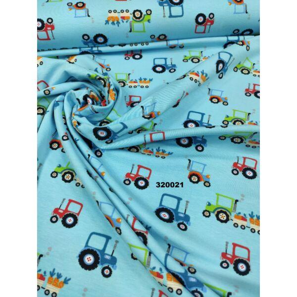 elasztikus pamut jersey /traktorok /világos kék