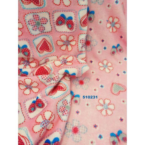 2 oldalas mintás wellsoft/varrott virágok /rózsaszín