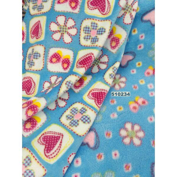 2 oldalas mintás wellsoft /varrott virágok /türkiz kék