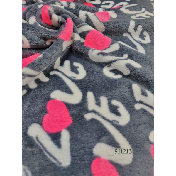 mintás wellsoft /LOVE rózsaszín szív (szív 5cm*5cm) /szürke