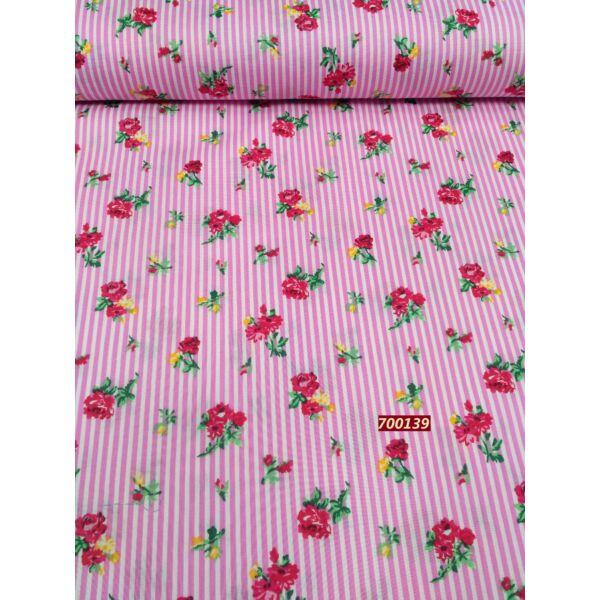 mintás puplin /csíkok-virágok /rózsaszín