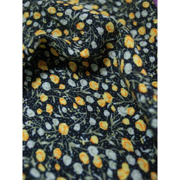 gyűrt viszkóz /virágos /fekete-sárga(FÉLMÉTER)