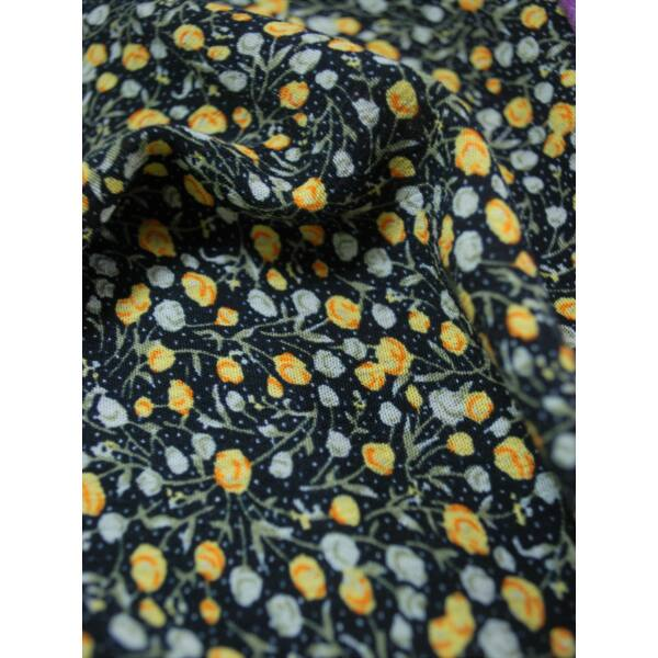 gyűrt viszkóz /virágos /fekete-sárga