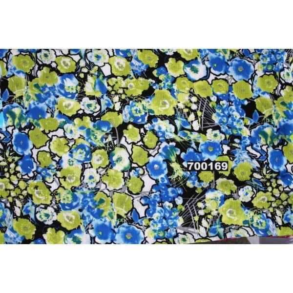 gyűrt viszkóz /kiwi-kék foltos virág