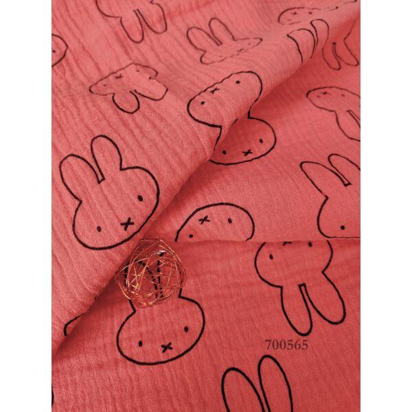 mintás pamut dupla géz /Miffy nyuszi 4,2cm*5,2cm /terrakotta