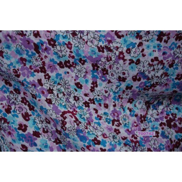 mintás flokon /Classic virágos /lila-türkiz
