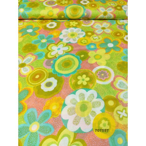 mintás puplin /lazac virágok(csipkés kör 11,5cm*9cm) /zöld