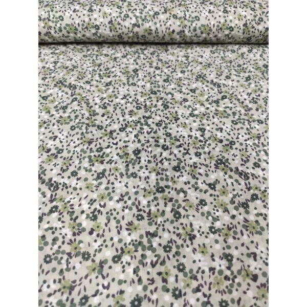 mintás puplin/apró virágok/ zöld