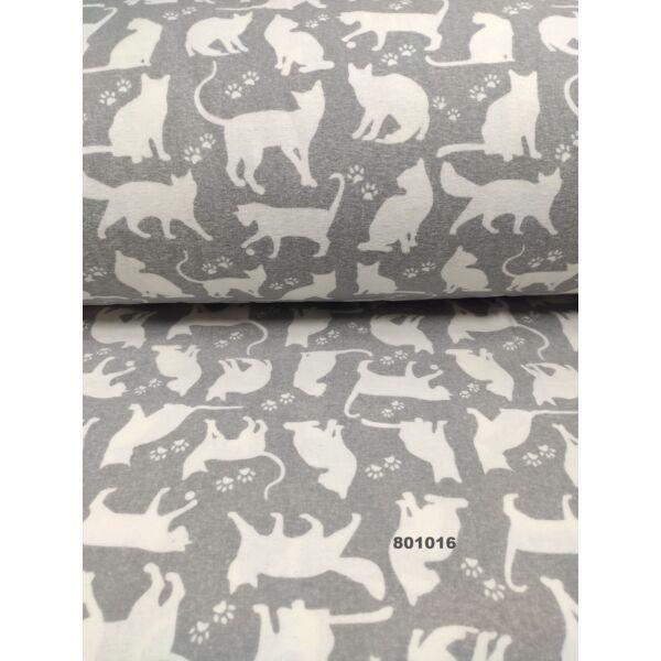 flanell/ tappancsos macskák (ülő cica 5cm*8cm)/ szürke