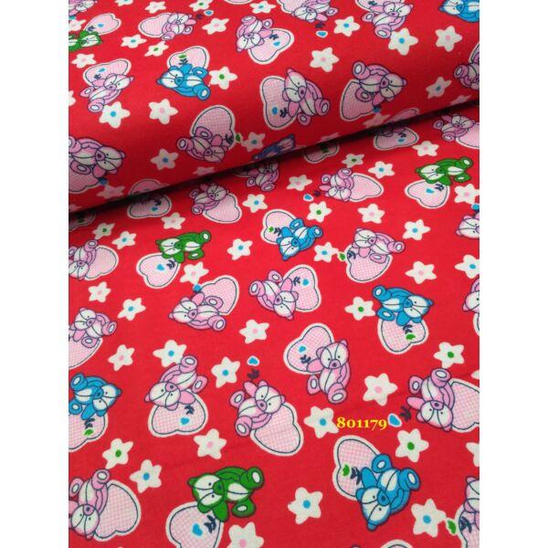 virágos -szives maci mintás flanell