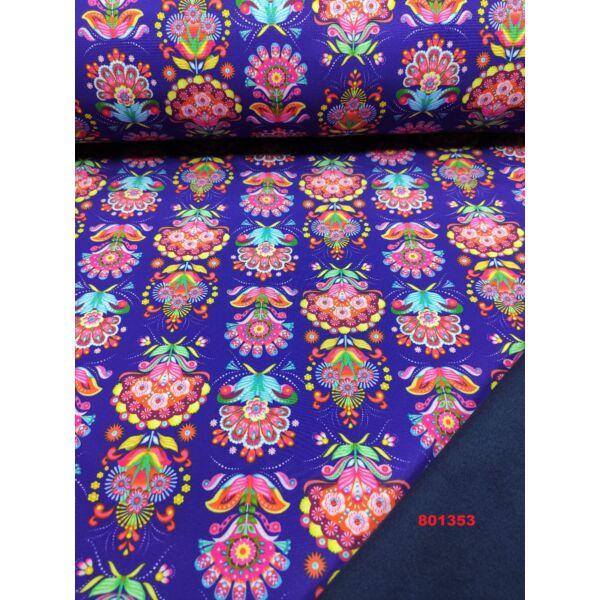 mintás softshell /virágok (5cm*5cm) DIGITAL PRINT/lila